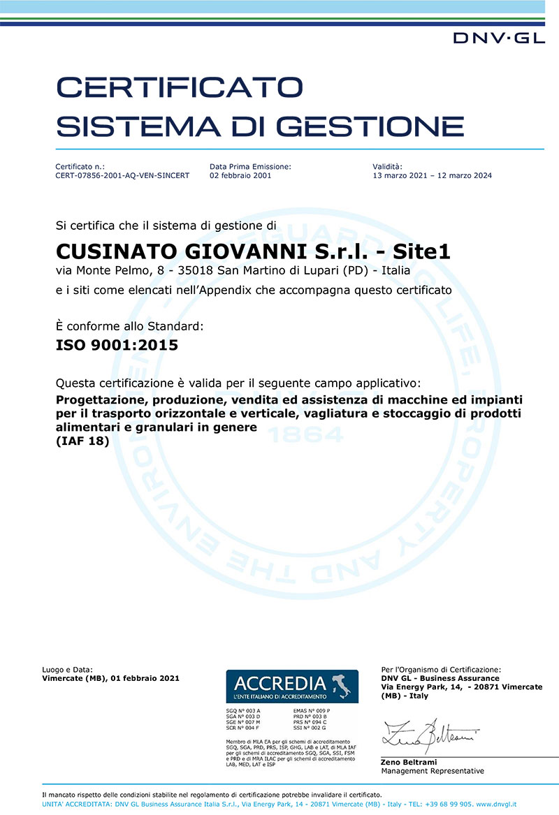 Cusinato is quality certified since 20 years